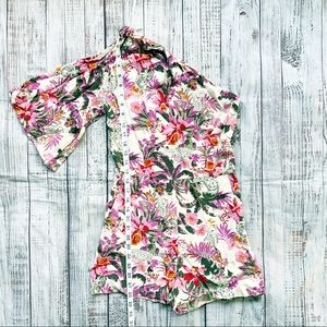 Topshop One Shoulder Floral Romper
